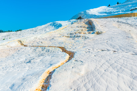 parched chalky mountain in Pamukkale in Turkey