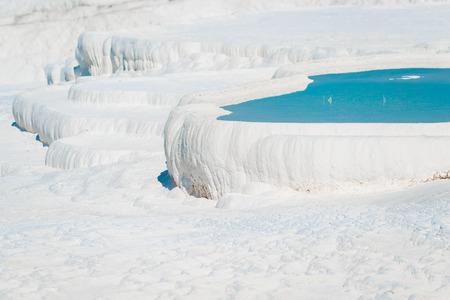 water-filled basins in Pamukkale in Turkey Stock Photo