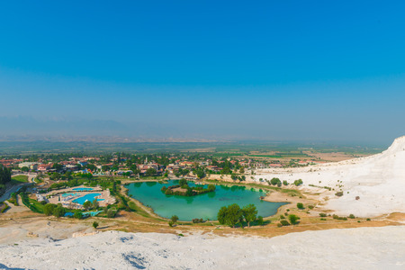 beautiful view of the city from the mountain in Pamukkale