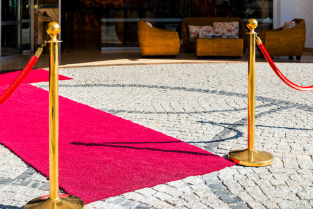 paving stones and red carpet for VIP guests