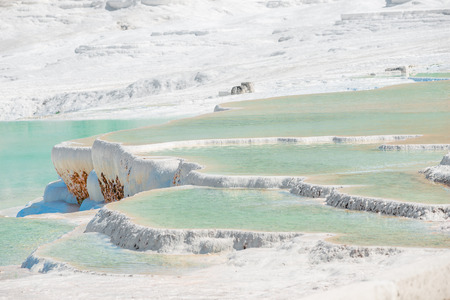 beautiful travertine with water in Pamukkale, Turkey