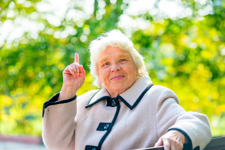 wise woman: a wise old woman came up with a good idea Stock Photo