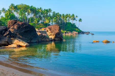 beautiful location: green palm trees and turquoise sea in a beautiful location Goa Stock Photo