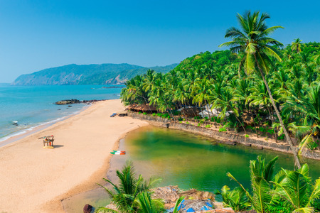 sandy beach in the beautiful resort location in Goa