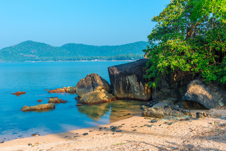 beautiful secluded place in a tropical lagoon Stock Photo