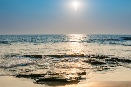 seascape: seascape. bright sun on the surface of the sea