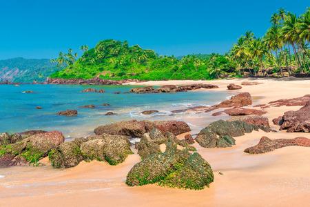 beautiful location: white sandy beach in a beautiful location near the equator