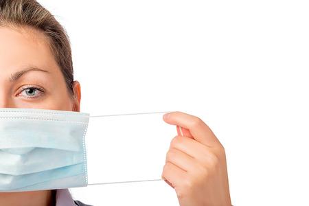 female face closeup: female face close-up and medical mask isolated