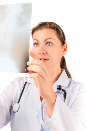 radiologist: portrait of doctor radiologist with image Stock Photo