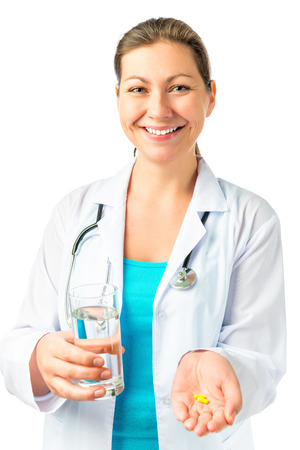 doctor giving glass: Happy doctor and medicines for the patient