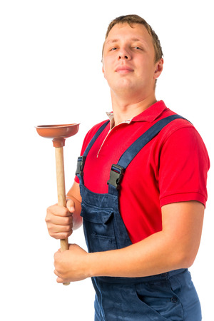 plumber tools: proud plumber with a rubber plunger on a white background