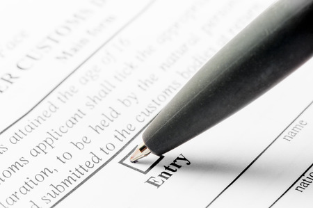 declaration: ballpoint pen and declaration form close-up Stock Photo