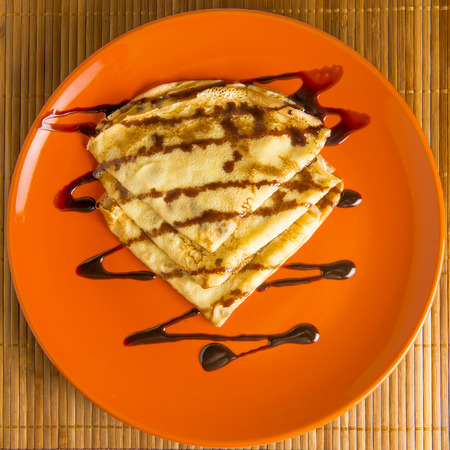 watered: delicious pancakes on a plate orange watered chocolate
