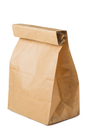 paper bag of brown color isolated