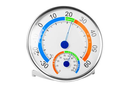 pluviometro: higrómetro muestra una temperatura agradable y humedad Foto de archivo