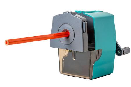 sacapuntas: lápiz de color naranja mecánica y sacapuntas