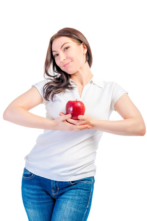 girl holding a ripe apple isolated photo