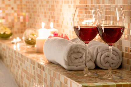 spa: romantic decoration in the bathroom for loving couples