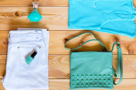 womens clothing: Womens clothing matched in color on boards