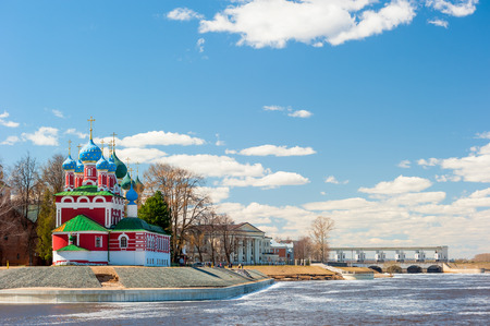 beautiful orthodox church is located on the riverbank in Rybinsk Stock Photo