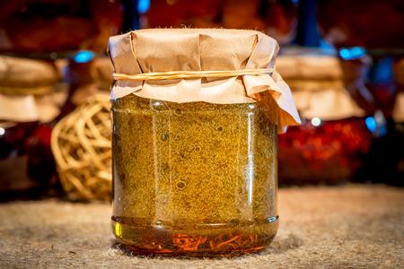buckthorn: Bank of jam made from sea buckthorn