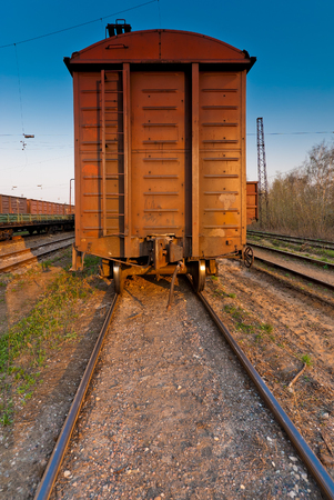 wagon of a freight train on the railroad Stock Photo