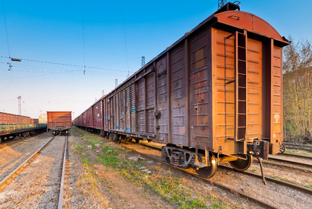 a freight train in the parking lot obsolete Stock Photo