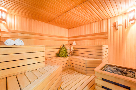 sauna: seats wooden a steam room without the people