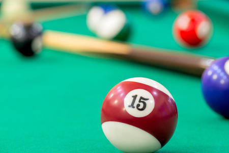 number 15: ball number 15 on the table of billiard close-up Stock Photo