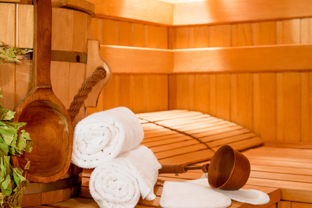 Accessories for relaxing in the sauna close-up on the seat