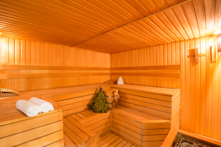 sauna: spacious interior of empty wooden a steam room
