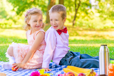 of boy and girl: happy children in a beautiful dress on a picnic in the park