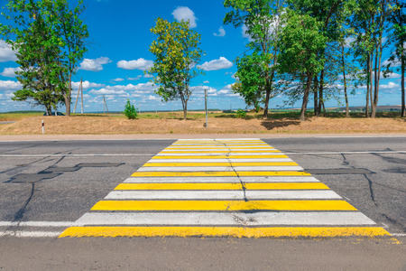 country highway: empty Country highway with a pedestrian crossing