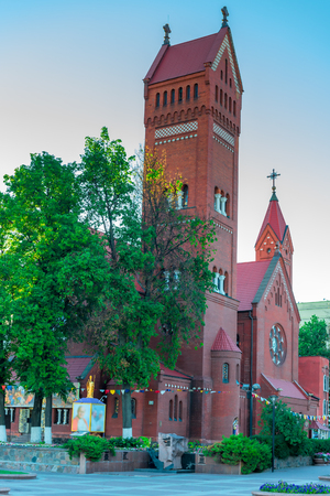 referred: Often referred to as Red Church - the most famous Catholic church in Minsk. Stock Photo