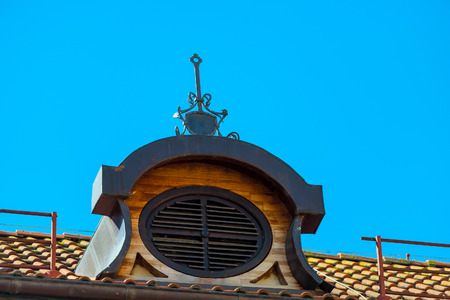 close up chimney: view of the roof of the building closeup