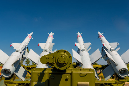 anti-aircraft missile system S-125 aimed at the sky
