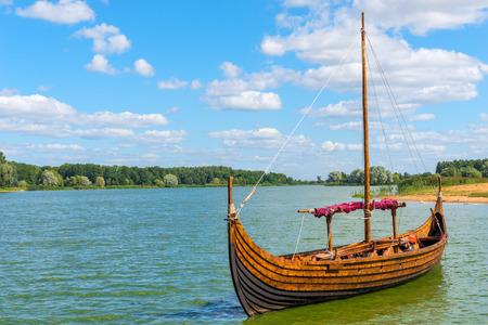 skiff: horizontal Photo Viking boat on the water