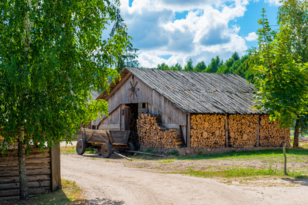 rural areas: barn full of reserve Firewood in rural areas
