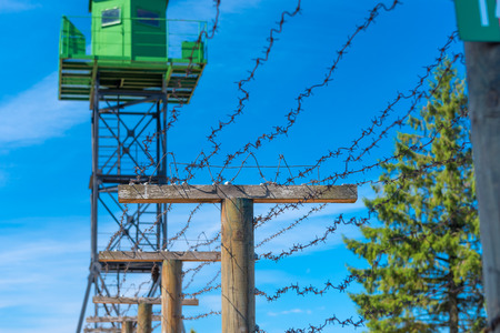 border patrol: power pole Stock Photo