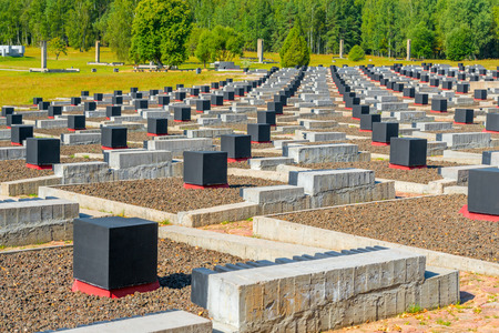 the nazis: Memorial complex Khatyn - a memorial to the hundreds of Belarusian villages destroyed by the Nazis in  the Great Patriotic War. The complex is unique in the world Cemetery of villages - 185 graves, each of which represents one of the unregenerate Bela