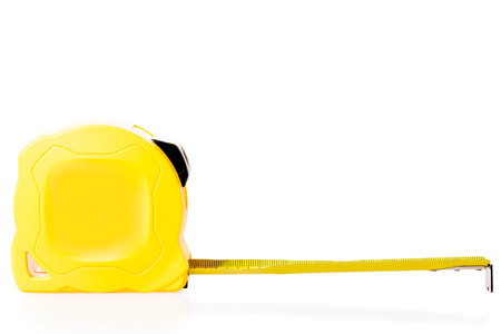 cintas metricas: the yellow measuring tape isolated close up