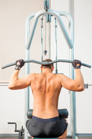 simulator: Athletes are back on the simulator in the gym Stock Photo