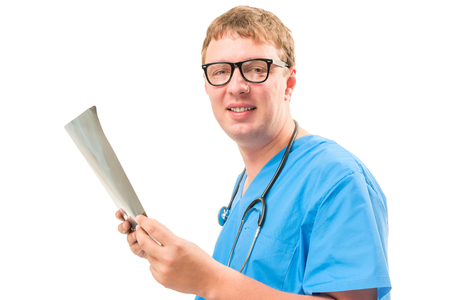 radiologist: portrait of a happy doctor radiologist with an X-ray image Stock Photo