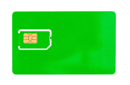 space for writing: Green SIM card for a mobile phone with an empty space for writing isolated Stock Photo