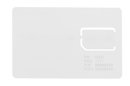 space for writing: white SIM card for a mobile phone with an empty space for writing isolated