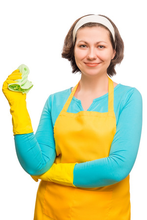 charwoman: Vertical portrait of a beautiful housewife in protective clothing with a cloth for cleaning dust