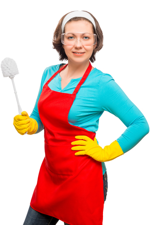 Vertical portrait of a woman ready to clean the toilet isolated on a white background