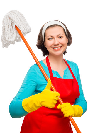 30 years old: satisfied housewife 30 years old posing with mop on white background