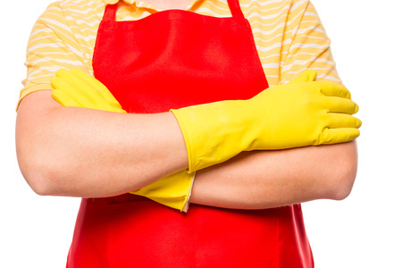 charwoman: a man in a red apron ready to clean on a white background isolated Stock Photo