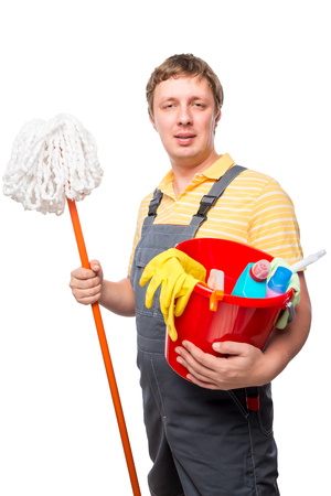 servant: man servant house cleaning portrait on white background